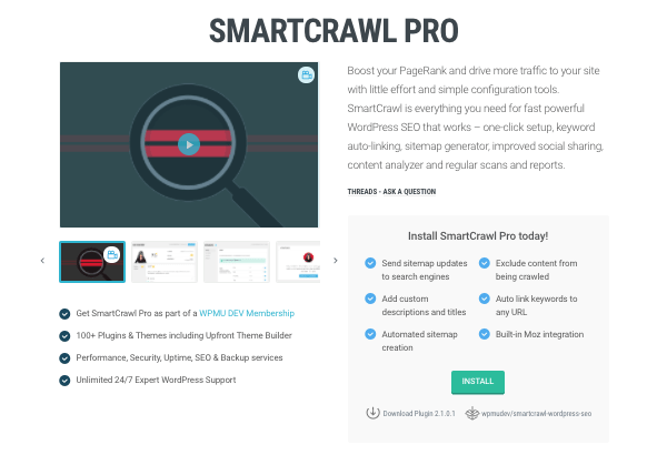 Smartcrawl Pro page on WPMU DEV website