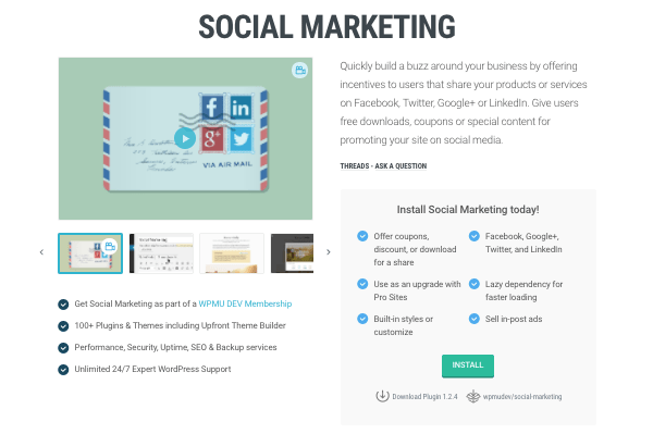 Social Marketing plugin on WPMU DEV website