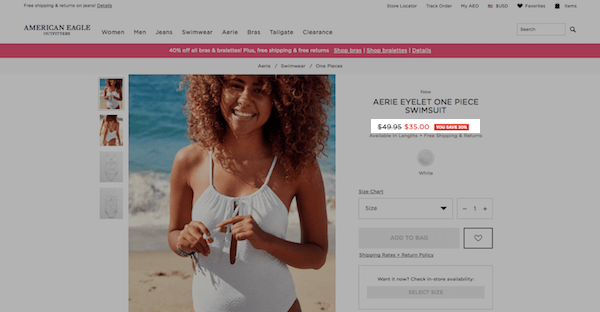 American Eagle eCommerce Product Page