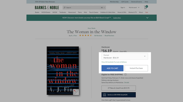 Barnes and Noble eCommerce Product Page