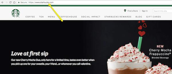 Screenshot of website with website address bar highlighted.