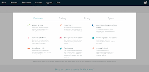 Fitbit eCommerce Product Page