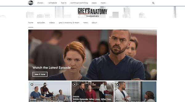 Grey's Anatomy Show Page