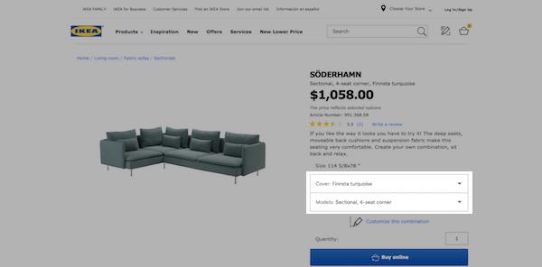 Ikea eCommerce Product Page