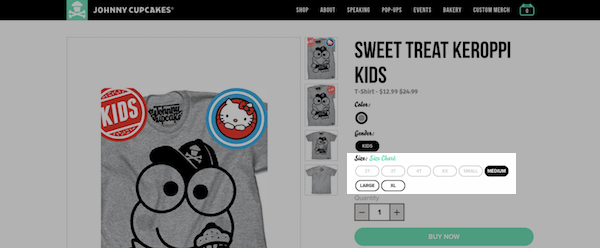 Johnny Cupcakes eCommerce Product Page