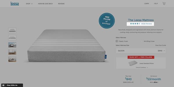 Leesa eCommerce Product Page