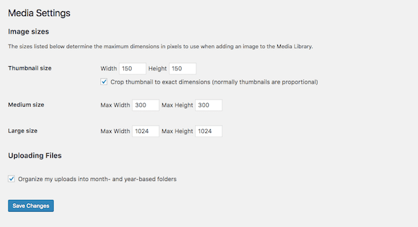 WordPress Media Settings screen.