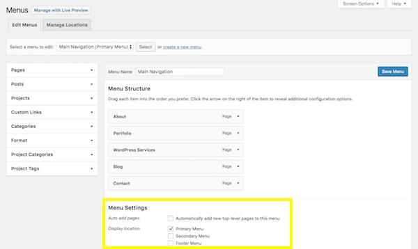 WordPress Menus - Menu Settings section