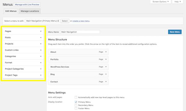 WordPress Menus screen - sidebar section.