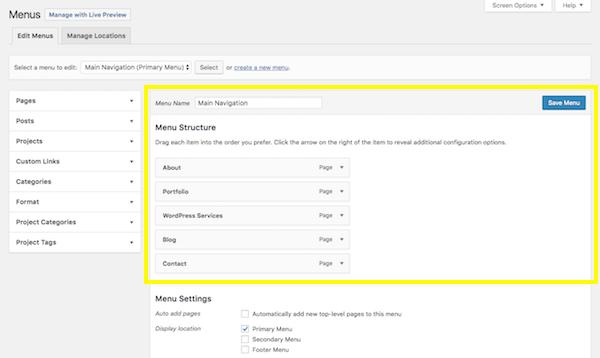 WordPress Menu screen - Menus Structure section.