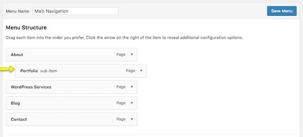 Nested WordPress menus