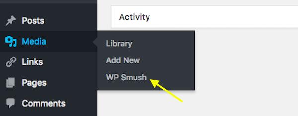 WordPress Menu - WP Smush menu entry.