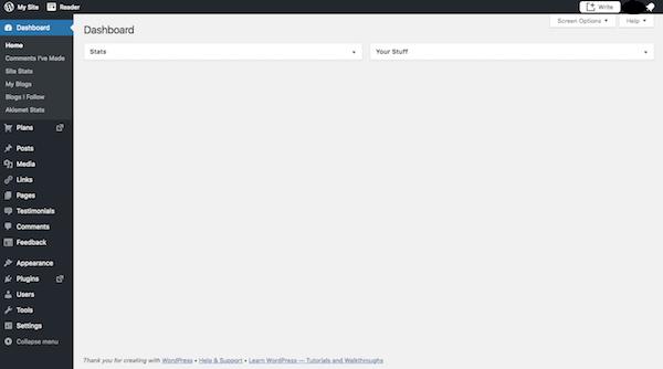 WordPress dashboard screen.
