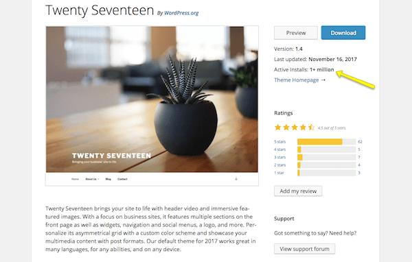 Twenty Seventeen theme for WordPress information page.