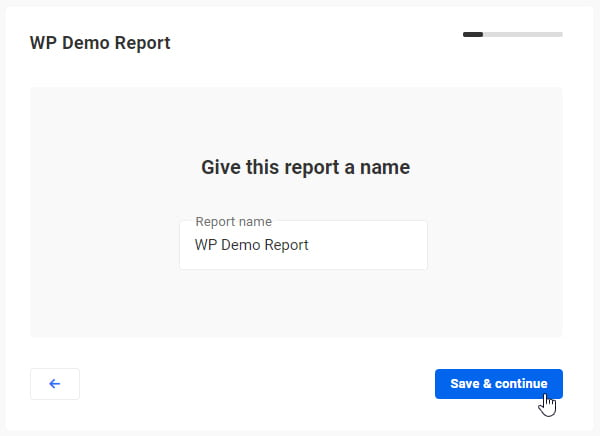 Create a New Report screen