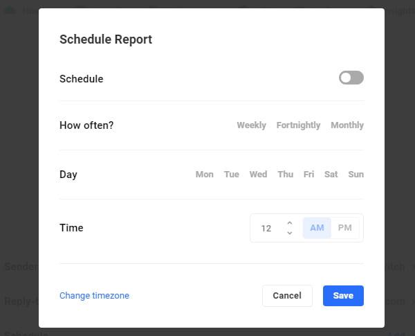 Schedule Report screen.