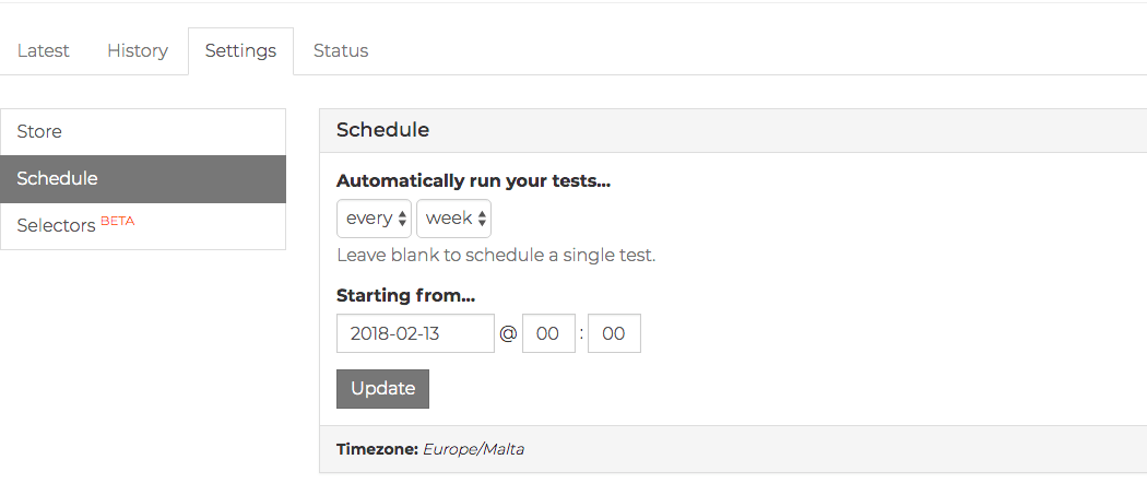 Scheduling a WooCommerce test