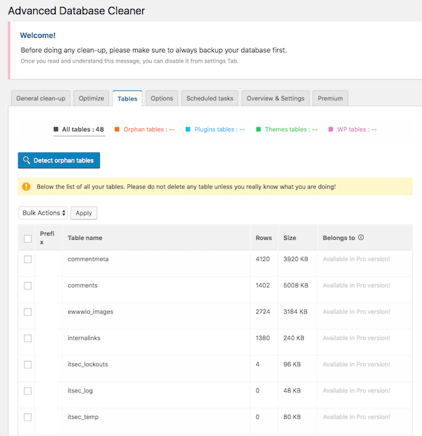Advanced Database Cleaner shows all your WordPress data tables