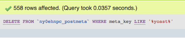 558 rows of Yoast data were removed from wp_postmeta