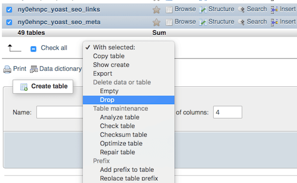 Dropping multiple tables with phpMyAdmin