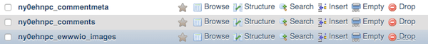 phpMyAdmin showing tables with options including Drop