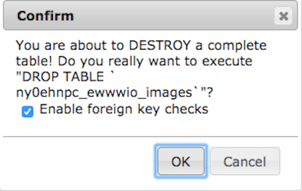 phpMyAdmin's warning confirmation dialog for dropping a table