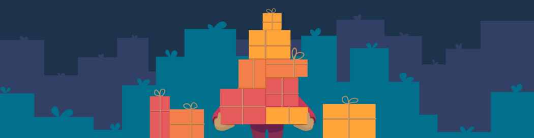 Banner illustration of person carrying gifts