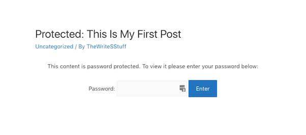 Password Protect - Post Protection