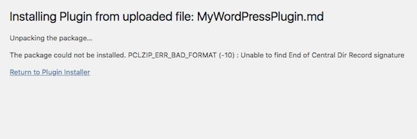 Plugin or Theme Won't Install - Bad Format Error