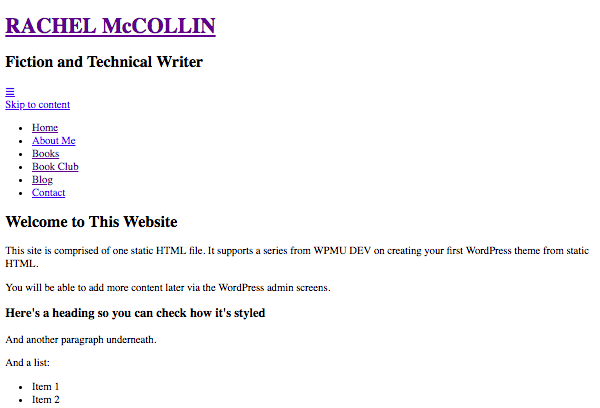 My site with no CSS