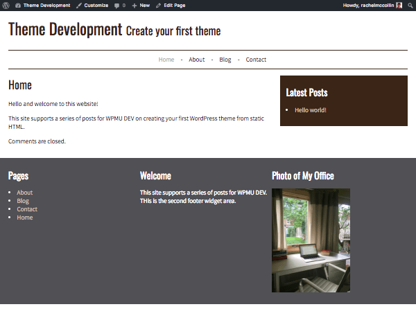 Our site with widget areas, a menu and the correct header information