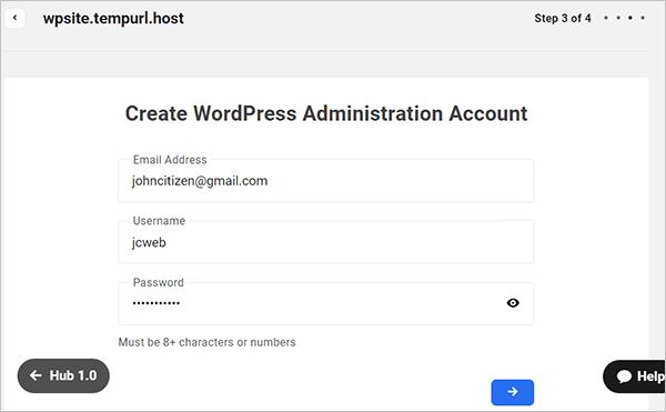 The Hub site creation wizard - create WP admin account.