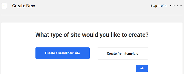The Hub site creation wizard - select type of site to create.
