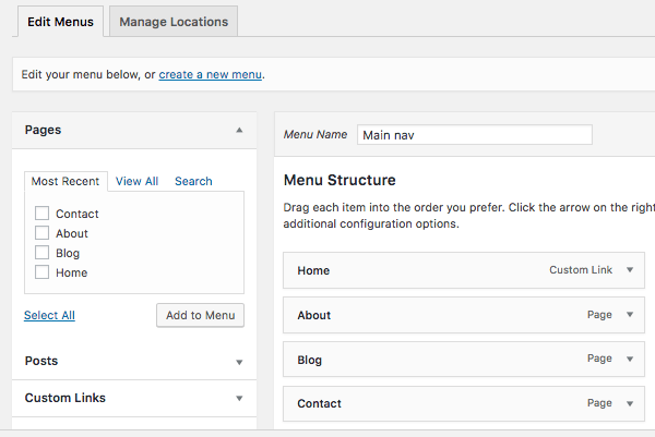 Menus page in WordPress admin