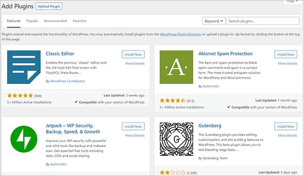 WordPress Plugins Menu - Add New screen.