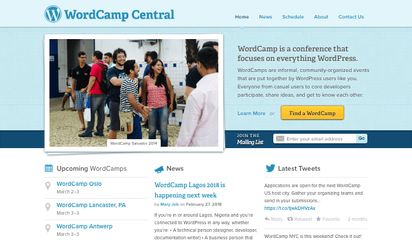 Wordcamp central website