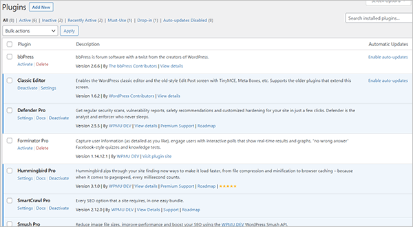 WordPress Plugins screen.