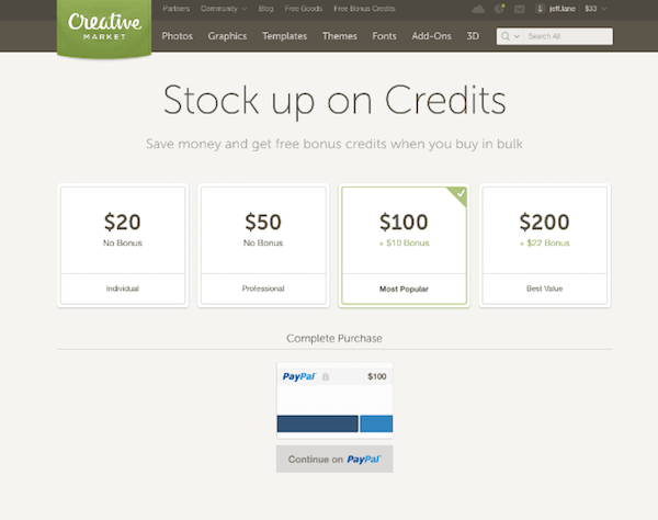 Conversion Rate Optimization - Creative Market Credits Original
