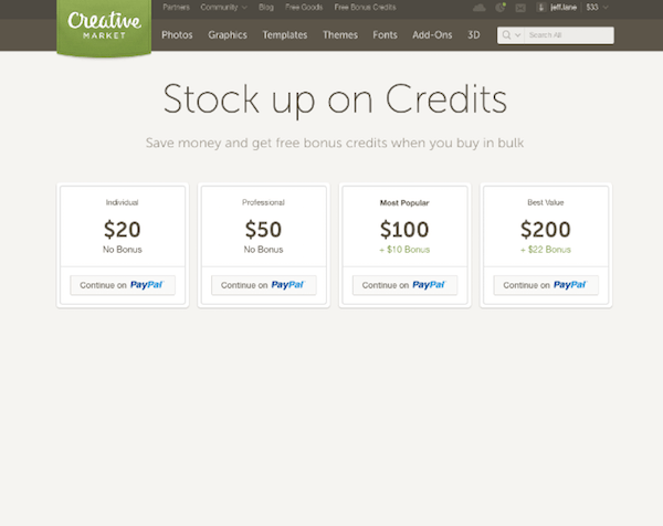 Conversion Rate Optimization - Creative Market Credits Updated