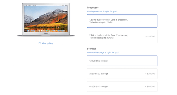 Upsell and Cross-sell - MacBook Air Processing Upgrades