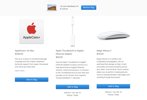 Upsell and Cross-sell - MacBook Air Product Cross-sell