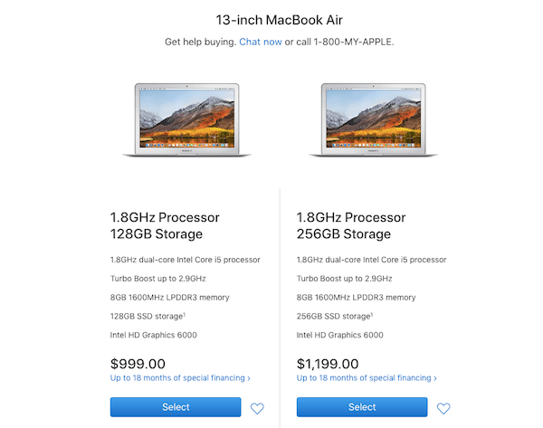 Upsell and Cross-sell - MacBook Air Storage Options