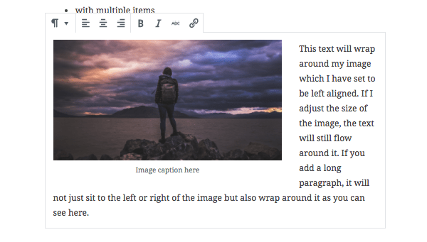 Text wrapping around an image block