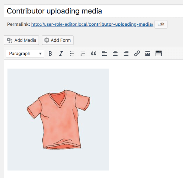 A Contributor who can upload files can use the Add Media button to add images