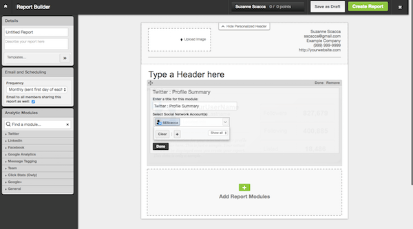 Create Reports - Hootsuite Report Builder
