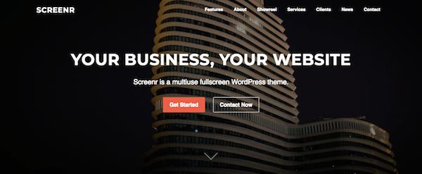 Screenr WordPress Theme Home Page