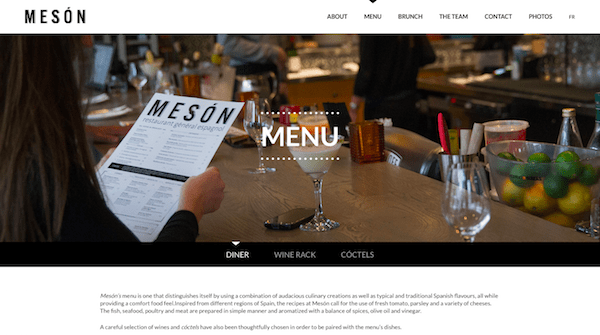 Single Page Websites - Meson Menu