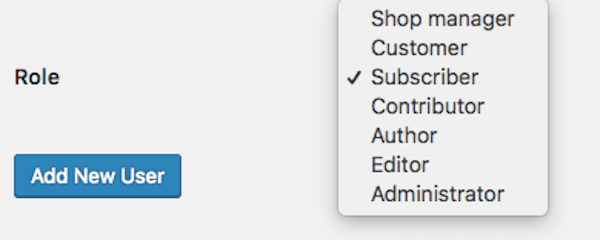 WooCommerce roles are added to WordPress' dropdown list of roles