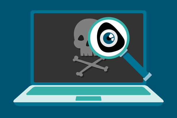 Illustration of a laptop with a skull and cross bones on the screen. A magnifying glass is inspecting the screen.