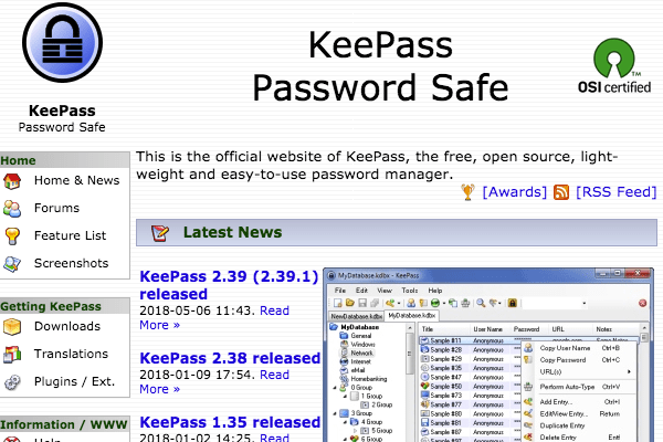 KeePass's website